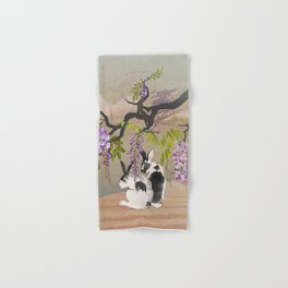 Two Rabbits Under Wisteria Tree Hand & Bath Towel