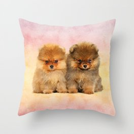 Cute Pomeranian Puppies Throw Pillow