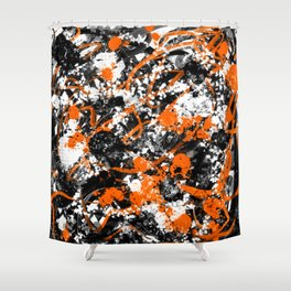 Individualistic Graffiti 7 Black White Orange - Abstract Art Series Shower Curtain