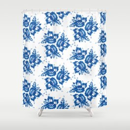 Silhouette of a beautiful horse's head with blue flowers Shower Curtain
