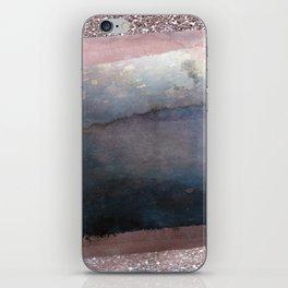 Rose Gold Blush Pink & Blue Watercolor iPhone Skin