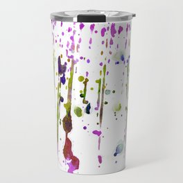 Abstract lime green neon pink purple watercolor paint splatters Travel Mug