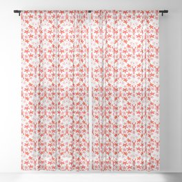 Under the sea - In red and pink Sheer Curtain
