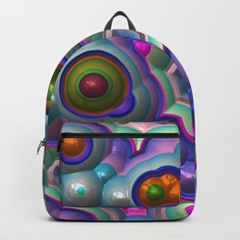 Bright shiny silver metal mirror circles Backpack