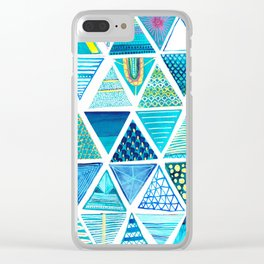 Triangle Study in Blue Clear iPhone Case