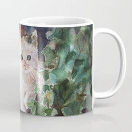 Watercolor Kitten with English Ivy  Coffee Mug