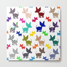 colorful chihuahuas on parade  Metal Print