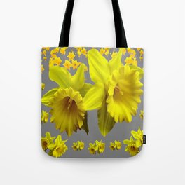 CHARCOAL GREY YELLOW SPRING DAFFODILS Tote Bag