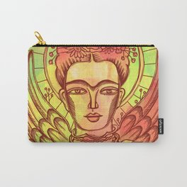 Frida Kahlo - monoprint-Red Carry-All Pouch