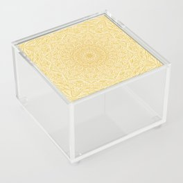 Most Detailed Mandala! Yellow Golden Color Intricate Detail Ethnic Mandalas Zentangle Maze Pattern Acrylic Box