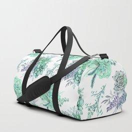 Succulents Mint Green Lavender Lilac Violet Pattern Duffle Bag