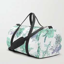 Succulents Mint Green Lavender Lilac Violet Pattern Duffle Bag