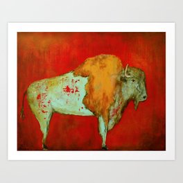 Southwestern Art Red Buffalo Art Print