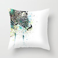zebra Throw Pillows featuring Zebra by Del Vecchio Art by Aureo Del Vecchio