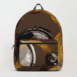 Big Dark Brass Yellow and Brown Rings and Circles Backpack