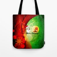 merry christmas Tote Bags featuring Merry christmas by nicky2342