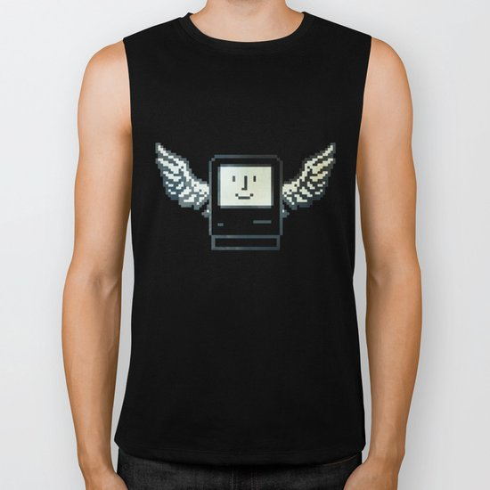 pixel mac with wings Biker Tank