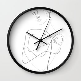 Abstract Female Body Line Illustration Wall Clock