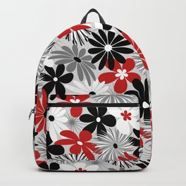 Funky Flowers in Red, Gray, Black and White Backpack