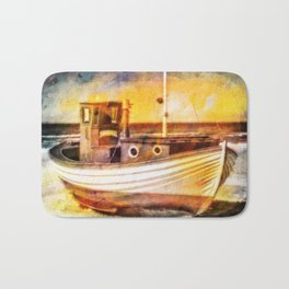 Boat Sunset Beach Painting Bath Mat