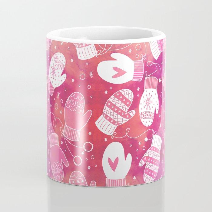 Winter Mittens Pink & Red Coffee Mug