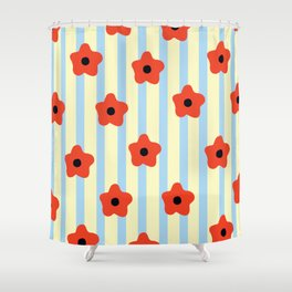 Poppies & Stripes Shower Curtain