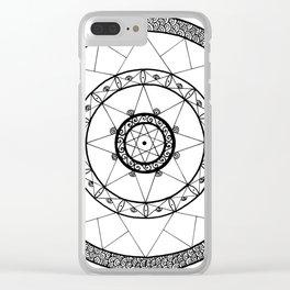 Zen Star Mandala - White Black - Square Clear iPhone Case