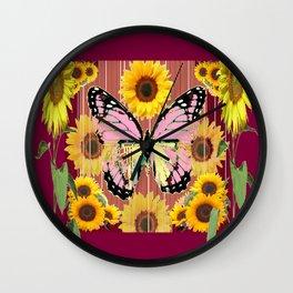 BURGUNDY SUNFLOWERS & PINK BUTTERFLY ART Wall Clock