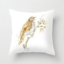 British Birds - Song Thrush Throw Pillow