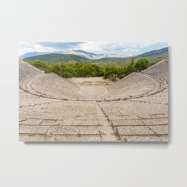 The ancient theater in Epidaurus, Argolis, Greece Metal Print