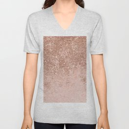 Girly blush coral faux rose gold glitter marble Unisex V-Neck