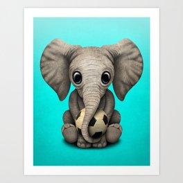 Cute Baby Elephant With Football Soccer Ball Art Print