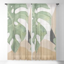 Abstract Art Tropical Leaves 3 Sheer Curtain