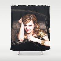 emma watson Shower Curtains featuring Emma by Pattida Panyakaew