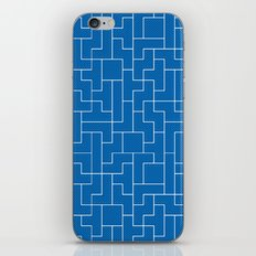 White Tetris Pattern on Blue iPhone Skin