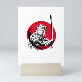 Samurai in Red Circle Mini Art Print