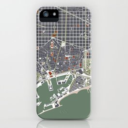 Barcelona city map engraving iPhone Case