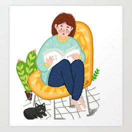 Reading Girl And Cat Art Print