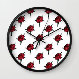 Red Rose Flower Gothic Pattern Wall Clock