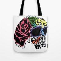 calavera Tote Bags featuring Calavera by Libbysscribbles