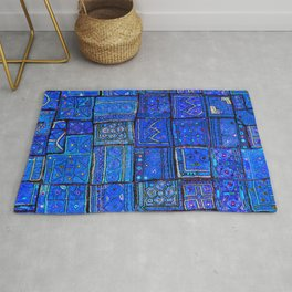 V2 Calm Blue Traditional Moroccan Cloth Texture. Rug
