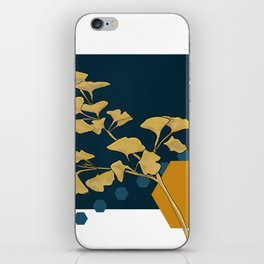 Gingko and hexagons iPhone Skin