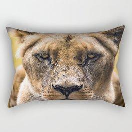 Intimidating lioness staring at you Rectangular Pillow