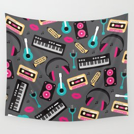 Jazz music instruments and sounds pattern Wall Tapestry