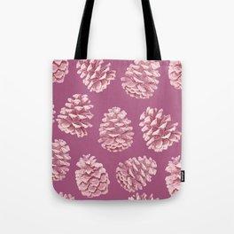 Blushing Deep Pine Cones Tote Bag