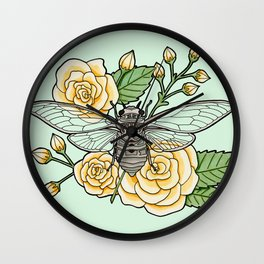 Cicada with Roses - Mint Wall Clock