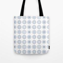 First Snowfall, winter snowflakes Tote Bag