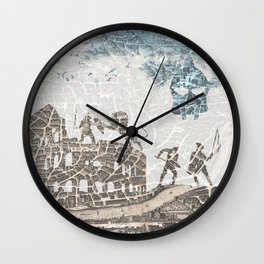 Rome of Gladiators - vintage map Wall Clock