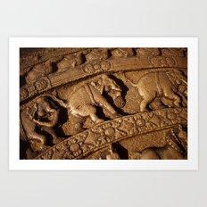Stone Elephants Art Print