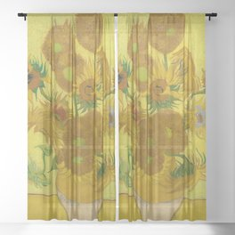 Sunflowers on Yellow Background Vincent Van Gogh Sheer Curtain